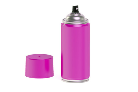 spray paint can: pink spray paint can isolated on white background Stock Photo