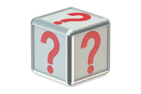 questionmark: Question cube isolated on white background Stock Photo