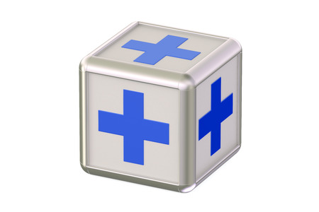 firstaid: cube with blue crosses isolated on white background Stock Photo
