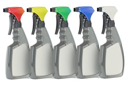 lable: Cleaner spray plastic bottles with blank lable Stock Photo