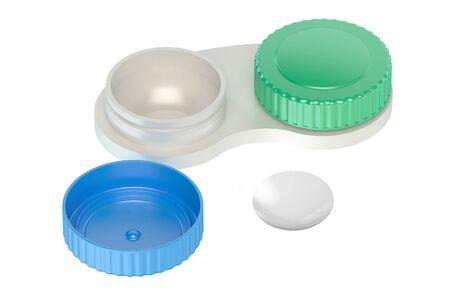 contact lenses: Caso las lentes de contacto aislado en el fondo blanco
