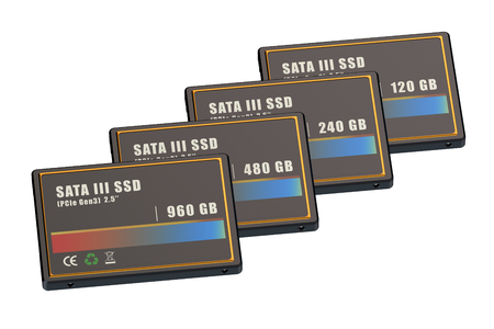 solid state drive: Set of SSD (solid state drives) isolated on white background Stock Photo
