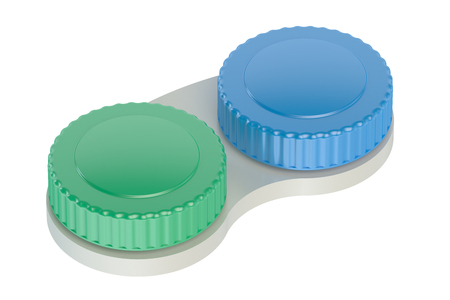 transparent cornea: Contact lenses case closeup isolated on white background