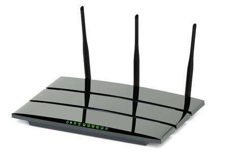 現代無線インターネット ルーター白い背景に分離 写真素材
