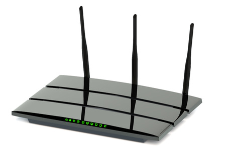 Modern wireless internet router  isolated on white background