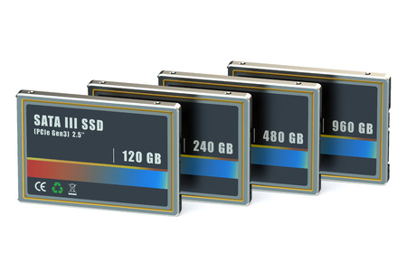 ssd: Set of SSD isolated on white background