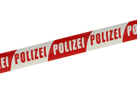 stalking: Germany Police Line isolated on white background