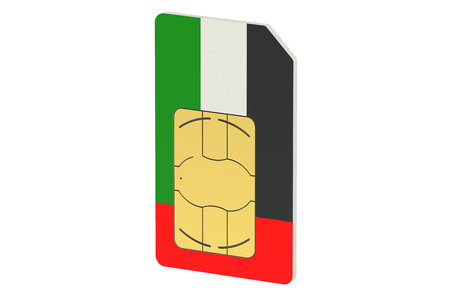SIM card with flag of UAE isolated on white background