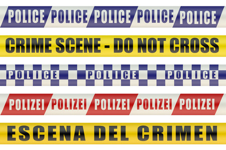 police line do not cross: Set of Police Lines isolated on white background