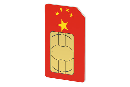 roaming: SIM card with flag of China isolated on white background