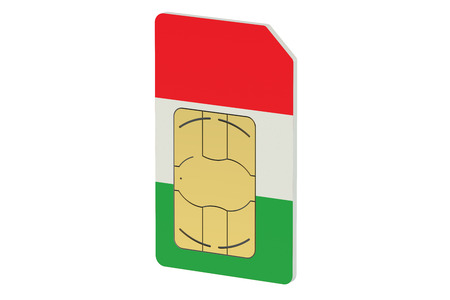 gsm phone: SIM card with flag of Italy isolated on white background