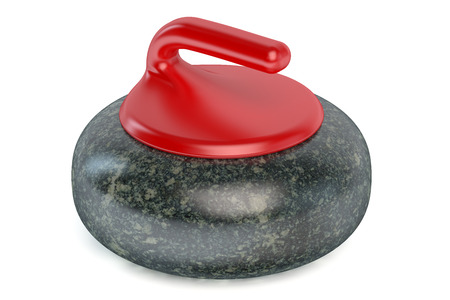 sliding colors: Curling Stone isolated on white background Stock Photo