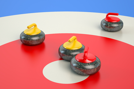 Curling concept, curling stone on playing area