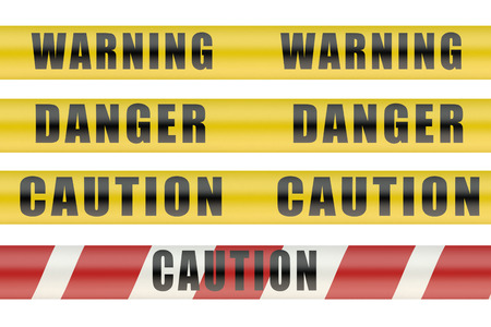 crime scene do not cross: Set of security warning tapes isolated on white background Stock Photo