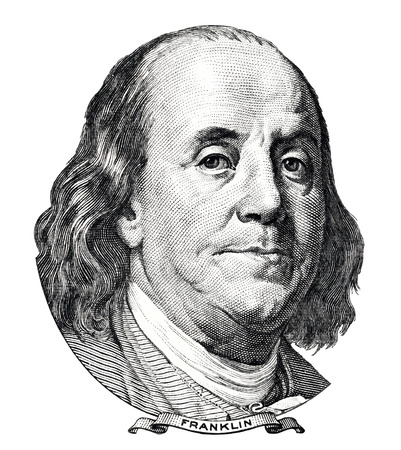 benjamin franklin: Benjamin Franklin portrait isolated on white background