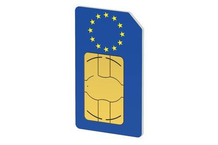 SIM card with flag of European Union isolated on white background Stock Photo