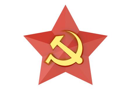 soviet: Soviet red star badge isolated on white background