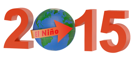 enso: El nino 2015 concept isolated on white background