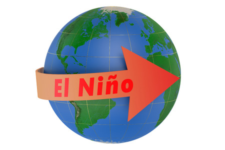 enso: El nino concept isolated on white background