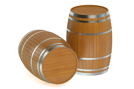 bung: Wooden barrels isolated on white background