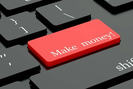 keyboard button: Make money concept on red keyboard button
