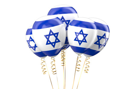 Israel patriotic balloons, holyday concept isolated on white background