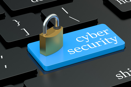 Cyber Security concept on keyboard button Foto de archivo