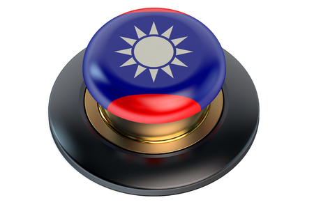 translator: Button with flag of Taiwan isolated on white background