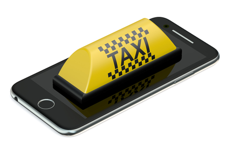 taxi service concept isolated on white background Stock Photo