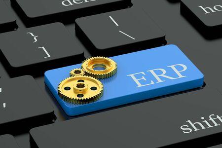 proceso: concepto de ERP en el botón azul teclado