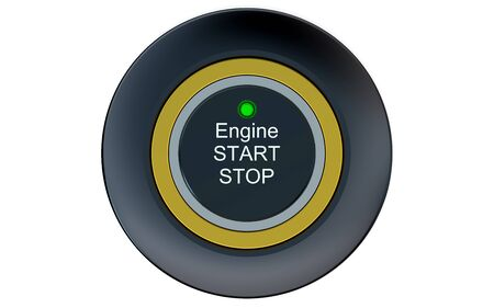 start button: Ignition start button closeup isolated on white background