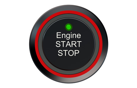 start button: Ignition start button isolated on white background