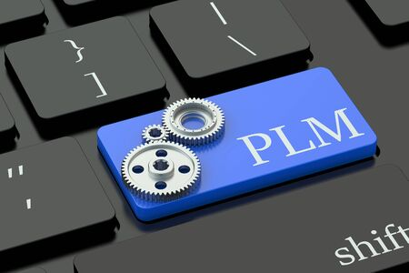managing waste: PLM concept on blue keyboard button