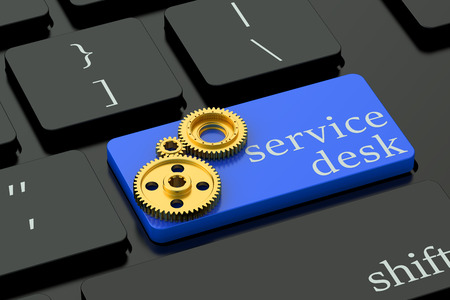 keyboard button: Service Desk concept on blue keyboard button Stock Photo