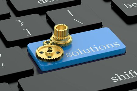 problem solution: Solutions concept on blue keyboard button