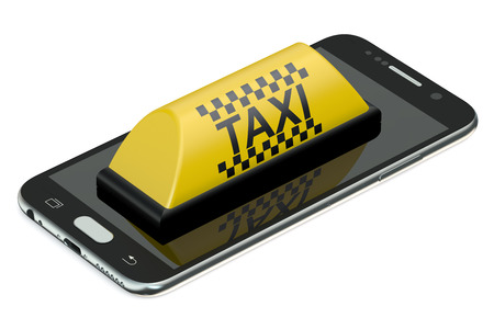chequerboard: taxi service concept isolated on white background Stock Photo