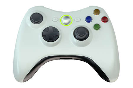 white game controller isolated on white background