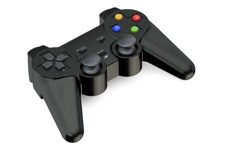 shoulder buttons: black Gamepad closeup isolated on white background