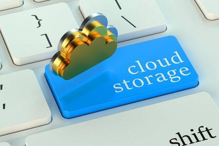 keyboard button: Cloud storage on blue keyboard button Stock Photo