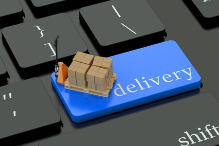 keyboard button: Delivery concept on blue keyboard button