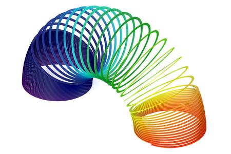 slinky: Rainbow colored plastic Slinky toy