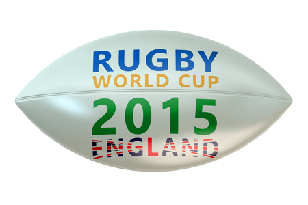 rugger: Rugby Ball with World Cup England concept isolated on white background