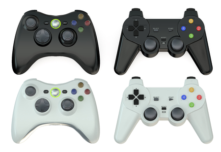 shoulder buttons: set of gamepads  isolated on white background