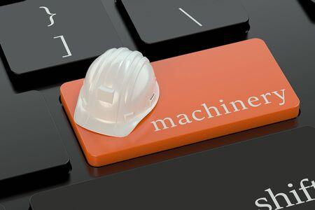 machinery: Machinery concept on orange keyboard button Stock Photo