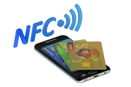 nfc: Smartphone with credit card, NFC concept