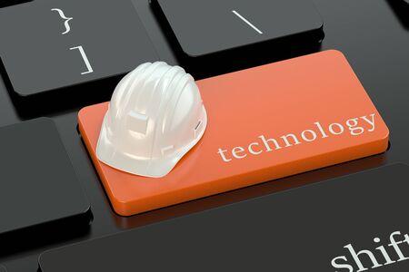 keyboard button: Technology concept on orange keyboard button