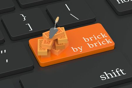 under control: Brick by Brick concept on keyboard button