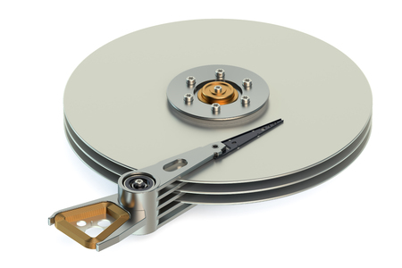 hard drive: Hard Disk Drive (HDD) view inside isolated on white background