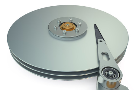 hard disk drive: HDD, Hard Disk Drive view inside  isolated on white background