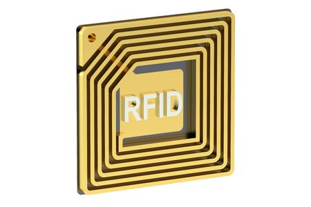 rfid: RFID tag isolated on white background Stock Photo